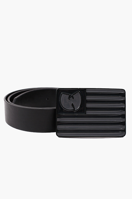 WU-TANG WU Flag Leather Belt Black