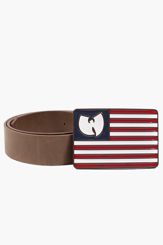 WU-TANG WU Flag Leather Belt White