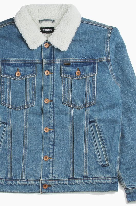 BRIXTON Cable Sherpa Denim Jacket Worn Indigo