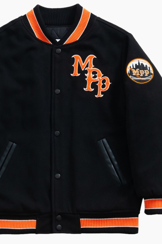 MAD PRIDE POSSE Mpp x Cleofus Wool Base Ball Jacket Black