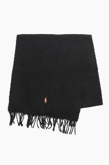 POLO Signature Italian Virgin Wool Scarf Black